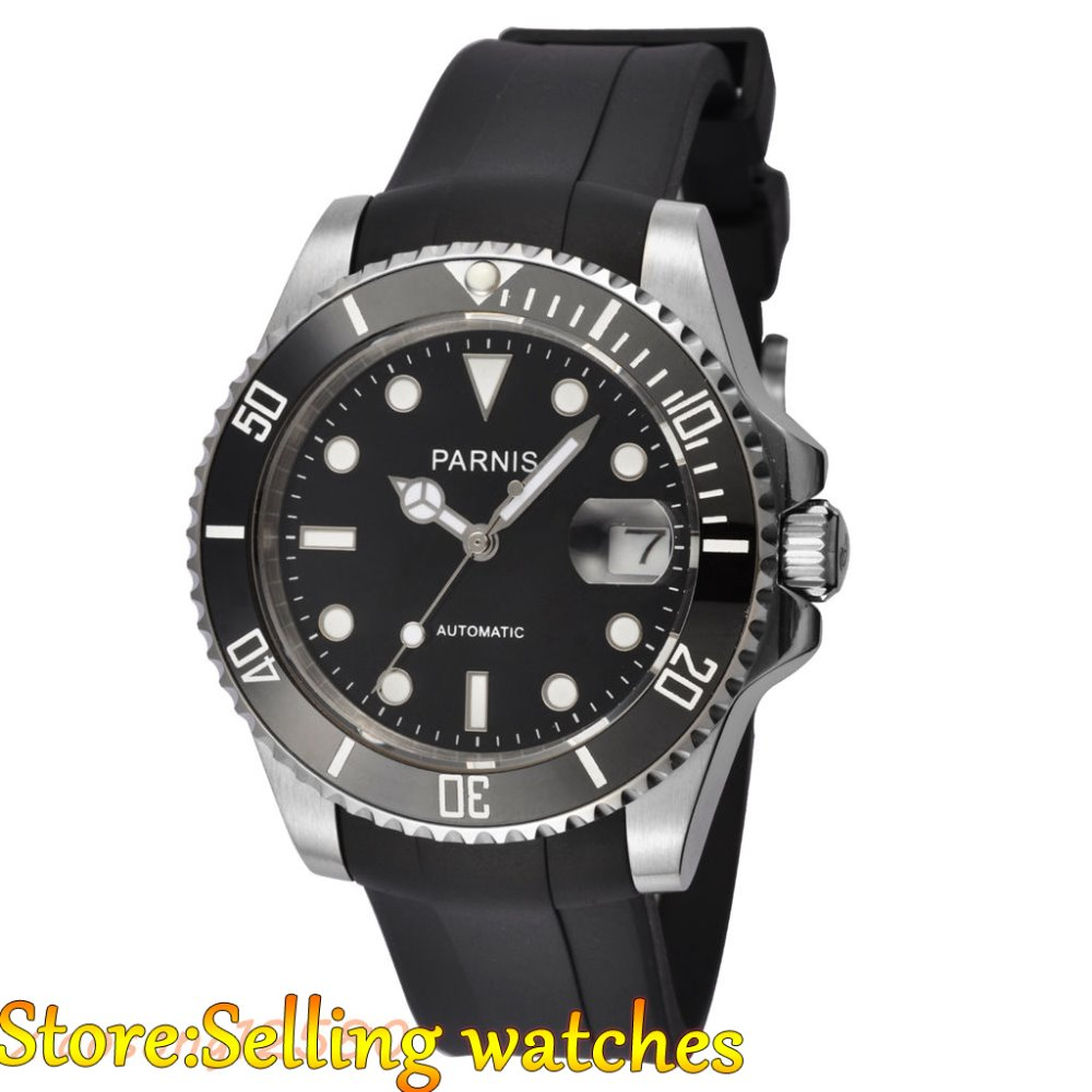 Parnis 40mm Ceramic Bezel sapphire glass Miyota automatic mens watch