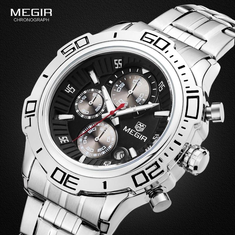 Megir Mens Chronograph Stainless Steel Strap Quartz Wrist Watches Fashion Luxury Luminous Waterproof Wristwatch for Man 2019 цена
