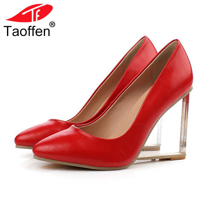 TAOFFEN Size 33-42 Original Intention Sexy Women Pumps Real Leather Pointed Toe Wedges Pumps Fashion Women Shoes Crystal Heels big size 40 41 42 women pumps 11 cm thin heels fashion beautiful pointy toe spell color sexy shoes discount sale free shipping