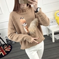 2016 autumn winter sweater women high necked loose thick sweater pullover feminine pull femme fox Korean short sweat f primer