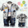 2016 Children clothing sets baby boys clothing sets  boy's cute denim  Children cartoon bear 3-pieces sets jacket+t-shirt+pant