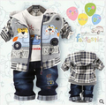 2016 Niños juegos de ropa niños bebés que arropan sistemas lindos del dril de algodón del muchacho Niños de dibujos animados oso 3-piezas establece jacket + t-shirt + pant