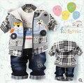 2016 roupa Das Crianças define meninos conjuntos de roupas de bebê bonito do menino denim Crianças urso dos desenhos animados 3-peças define jacket + t-shirt + pant