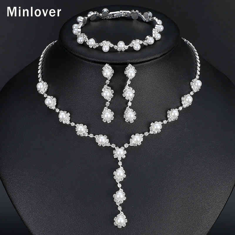 Minlover Floral Simulated Pearl Bride Wedding Jewelry Sets Simple Crystal Necklace Earrings Bracelets Sets For Women TL059+SL077