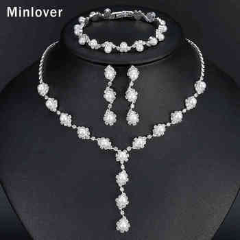 Minlover Floral Simulated Pearl Bride Wedding Jewelry Sets Simple Crystal Sets
