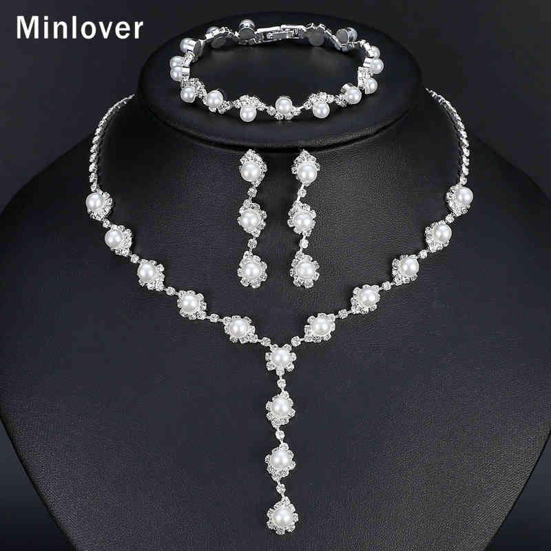 Minlover Simple Simulated Pearl Bride Wedding Jewelry Sets for Women Rhinestone Prom Necklace Earrings Bracelets Set TL059+SL077