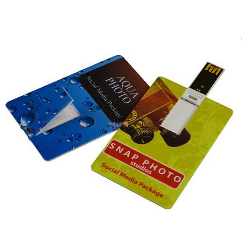 Custom Flash Drive - Bulk Pack - USB 2.0 Credit Card Design Colored in White - Digitally Print your Custom Design As Promotional