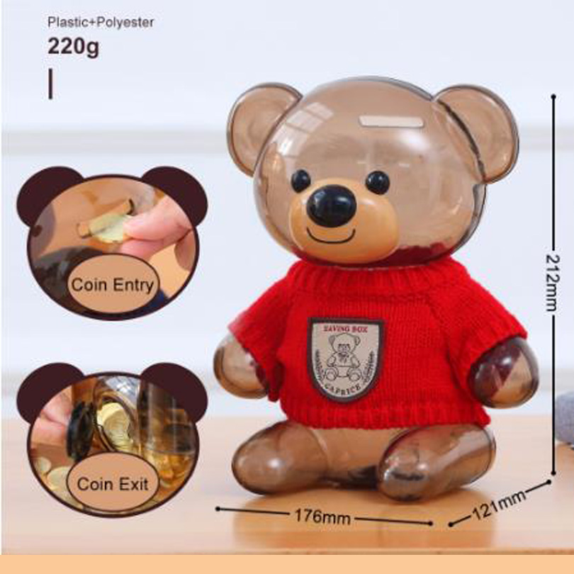 Plastic Money Safe Box Cartoon Sweater Bear Electronic Piggy Bank Transparent Child Kid Coins Collector Lovely Christma Present