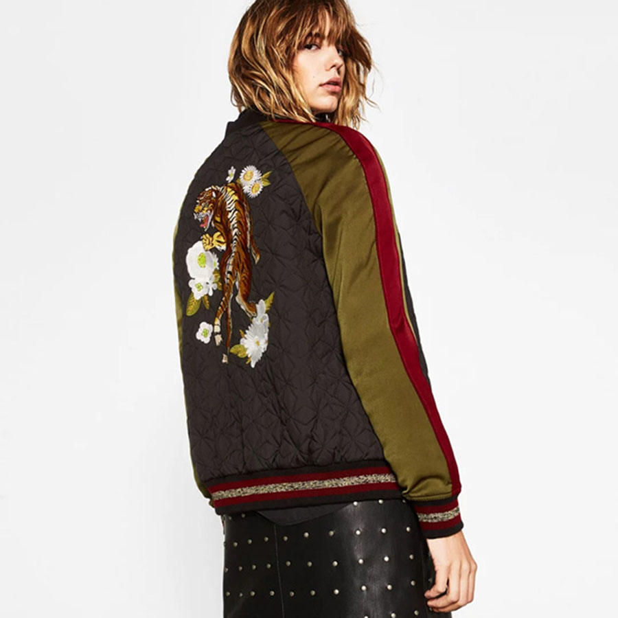 Tiger embroidery jacket petchwork short bomber