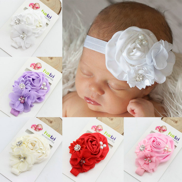 flower floral crystal pearl baby girl headband Infant hair accessories cloth band newborn   Headwear   tiara headwrap Gift Toddlers
