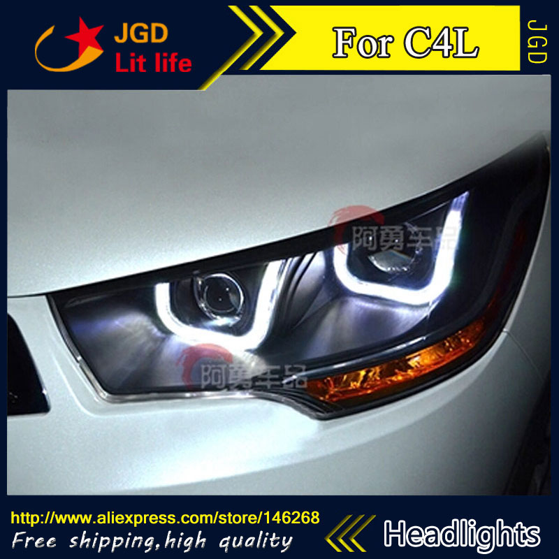 Free shipping ! Car styling LED HID Rio LED headlights Head Lamp case for Citroen C4L 2013 Bi-Xenon Lens low beam