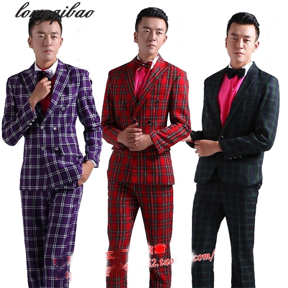 Studio men 's dance performance costumes moderators men red green purple gray brown tart suits Four pieces / sets