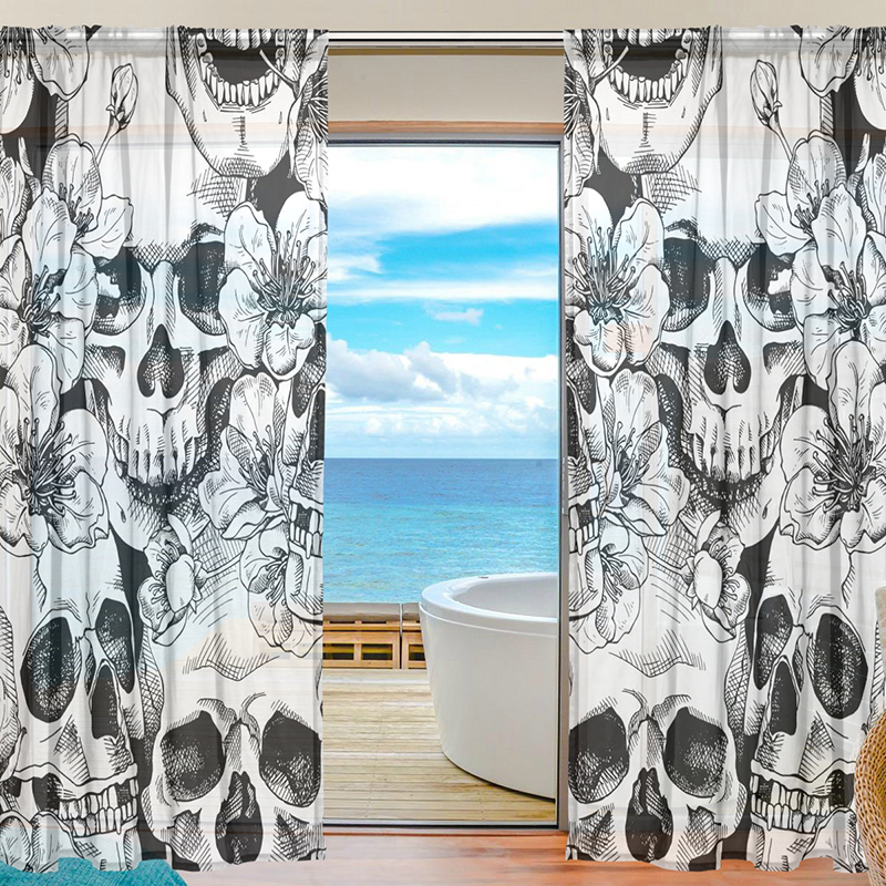 Sheer Voile Window Curtain Vintage Sugar Skull Floral Pattern Printed Polyester Material Fabric Tulle Curtains for Bedroom 2pcs
