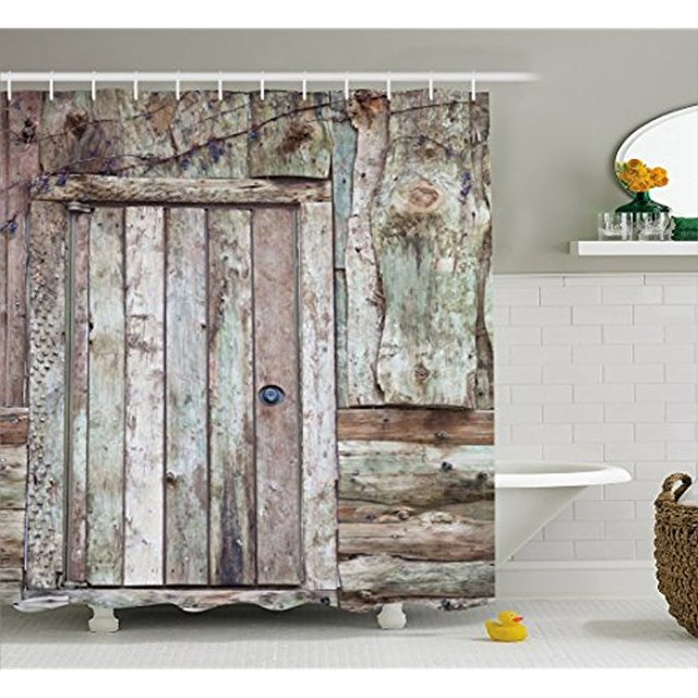 Vixm Rustic Shower Curtain Old Barn Door Cottage Country Cabin Rural Mystic Entrance Of Home Fabric Bath Curtains