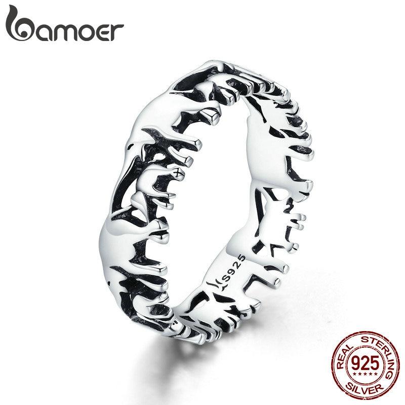 BAMOER de moda 100% de Plata de Ley 925 anillo colección de animales elefante familia anillos de dedo para mujer joyería de plata SCR344