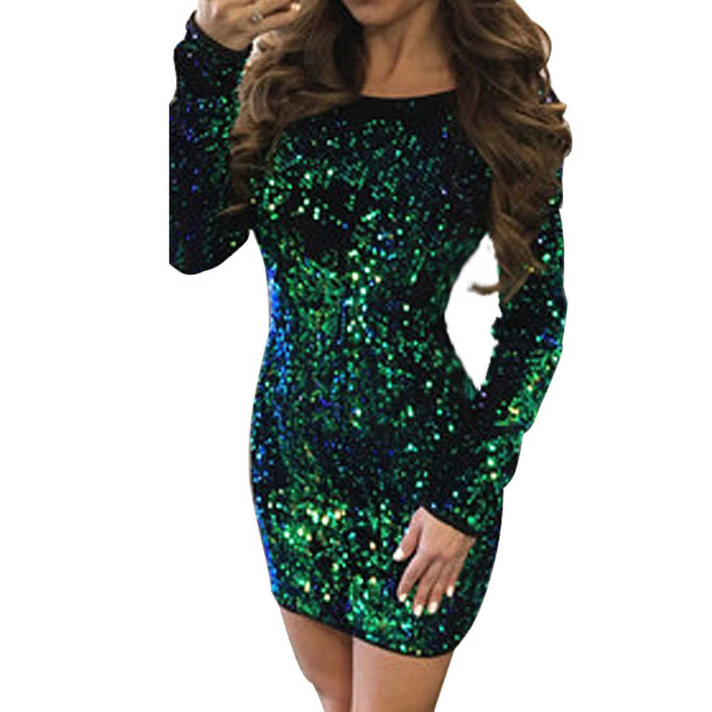 Women Spring Backless Sheath Green Sequin Dress Long Sleeve Sparkly Mini  Dress Bodycon Sexy Club Party f6abefea0e82