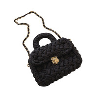 New Elegant Shoulder Bag Women Wild Simple Messenger Bag For Girls Straw Beach Casual Grass Weaving Cotton Shoulder Bucket