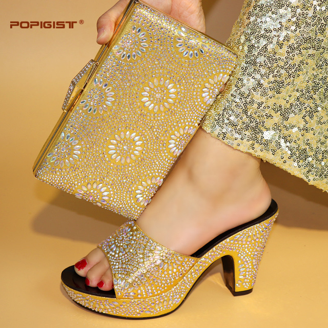 Golden Sandal Women Shoes Italian Design With Matching Bag Rhinestones High  Quality African Shoes And Bags fae8b666ffb0