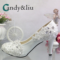 White Lace Flower Wedding Pumps Silver Crystal Appliques Rhinestone Round Toe Women Shoe Spike Heel for Party Banquet Bridesmaid