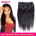 Virgin Brazilian Hair Clip In Extensions 100-120G Clip In Brazilian Hair Extensions 1B Black Clip In Human Hair Extensions