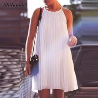 2017 White Dress Women Spaghetti Strap Striped Pleated Summer Sundress Mini Beach Robe Femme Shift Ruffle
