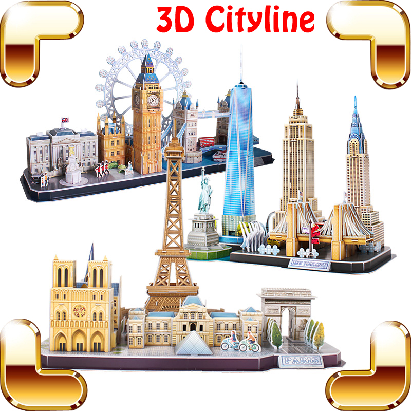 New Year Gift Cityline 3D Puzzles Model Building DIY Assemble Toys Educational IQ Game Learning Knowledge Decoration Present