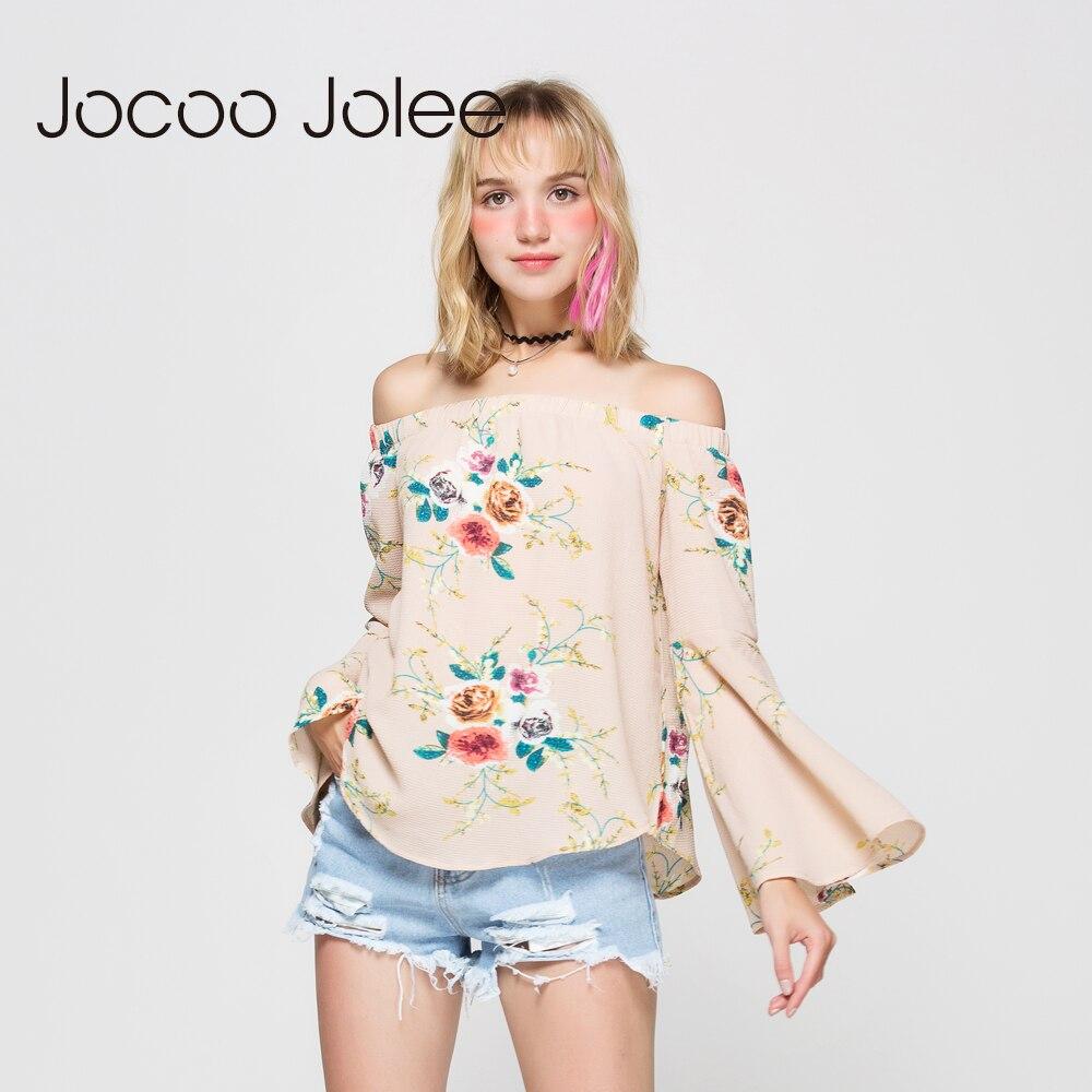 Jocoo Jolee ženske v bluzi na rame Seksi polni rokavi z metulji - Ženska oblačila - Fotografija 4