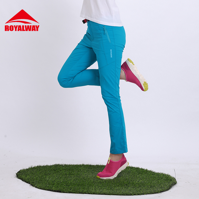 ROYALWAY Camping Hiking Pants Full Length Women Quick Dry Trousers Solid Elastic Polyester Nylon Hiking Pants#RFPL1016G