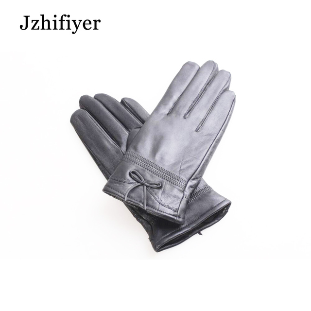 Jzhifiyer Gr 208 Sheep Genuine Leather Warm Water Proof Five Finger Bowknot Loose
