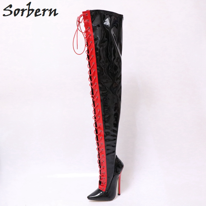 aadaf7a5ce8 Sorbern Black And Red Boots Over The Knee High Heels 15Cm Lace Up Fashion  Boots Size 11 Heels Custom Wide Calf Boots For Women - aliexpress.com -  imall.com