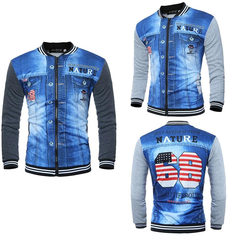 Men jackets Baseball collar printing new fashion men's 3D sweaters long-sleeved sweater man's jacket new baseball collar