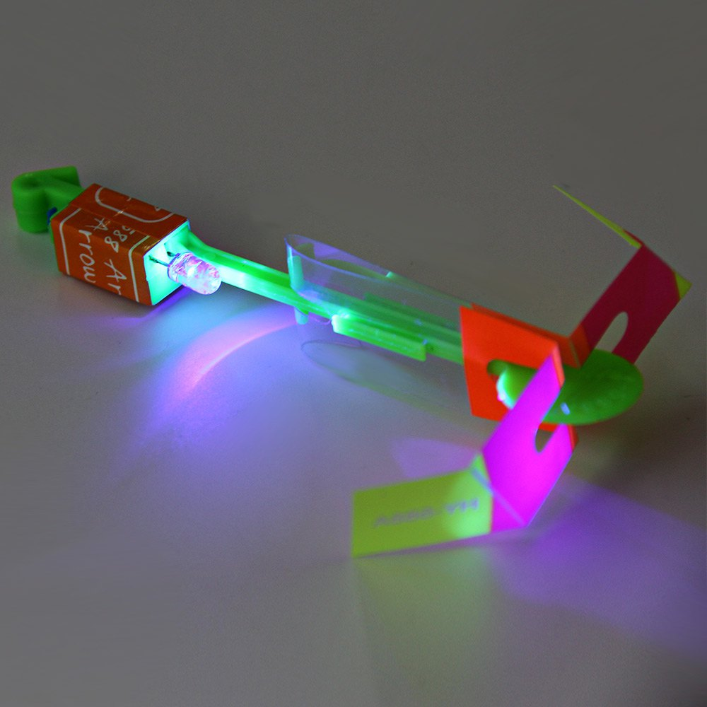 3Pcs Amazing LED Light Arrow Rocket Helicopter Flying Toy Party Fun Gift Sabre Laser Lightsaber Flyknit Rubber band toys