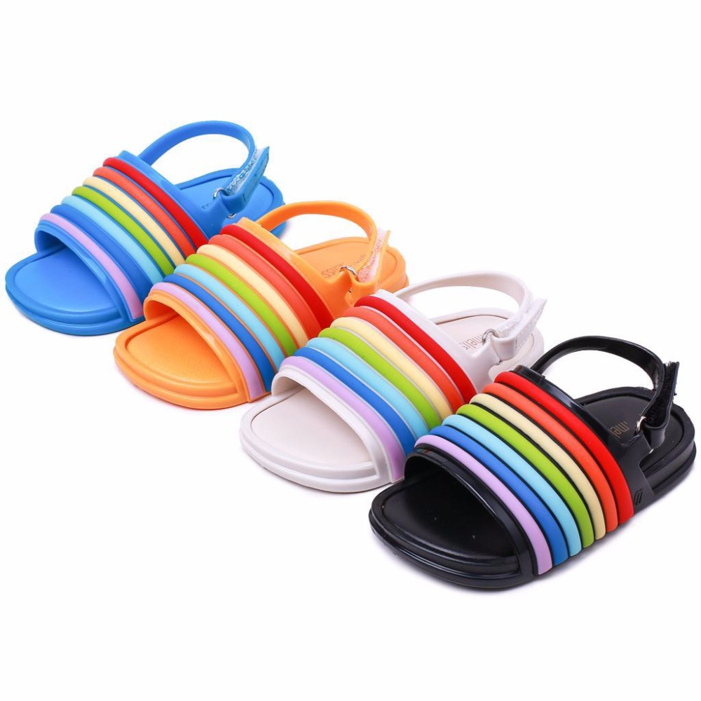 Mini 2019 New Rainbow Stripes Jelly Sandals Cute Girl Shoes Non slip Girl Beach Sandals Mini Baby Jelly Sandals in Sandals from Mother Kids
