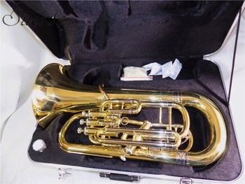 Bb Euphonium with ABS case 3+1 Four Pistons Euphonium Brass Lacquer musical instruments c key piston trombone with case mouthpiece yellow brass body lacquer silver plated finish wind musical instruments