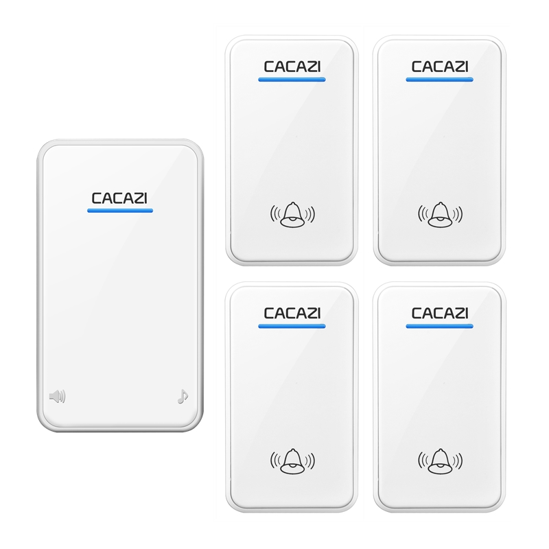 CACAZI DC Wireless Doorbell battery-operated 4 transmitters+1 receiver 300M remote door bell 48 rings 6 volume door chime  cacazi dc wireless doorbell need battery 150m remote waterproof gate door bell chime ring wireless 36 tunes 1 emitter 2 receiver