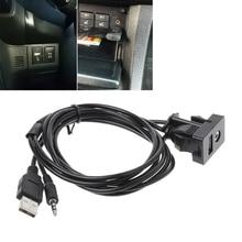 Новинка, высокое качество, 1 шт., автомобильный 3,5 мм AUX USB кабель-удлинитель, панель, разъем для наушников, переходник для заподлицо