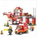 Sluban bloques de construcción camión de bomberos de la ciudad helicóptero bombero lepin de aprendizaje y educación juguetes