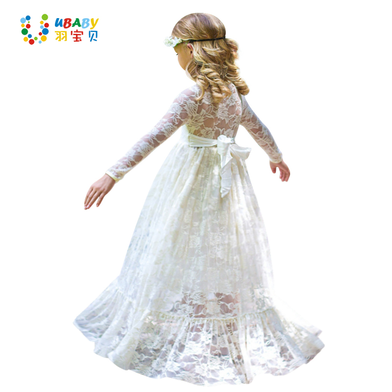 Girl Lace Long Dress Flower For Age 2-12 Baby Kids Princess Wedding Prom Christmas Party Gift White/Cream Big Bow Sweet Clothing  girl lace long dress with sweet flower for age 3 7 baby kids princess wedding prom party white cream big bow long sleeves dress