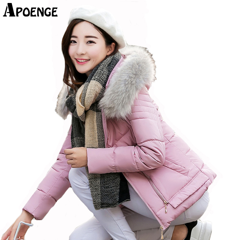 APOENGE casacos femininos Autumn Winter Slim Jacket Coat For Women 2017 New Hooded Fur Collar Zipper Coton Wadded Parka QN434