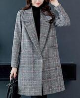 Korean Wool Blend Coat Women Long Sleeve Turn down Collar Outwear Jacket Casual Autumn Winter Women Plaid Elegant Overcoat