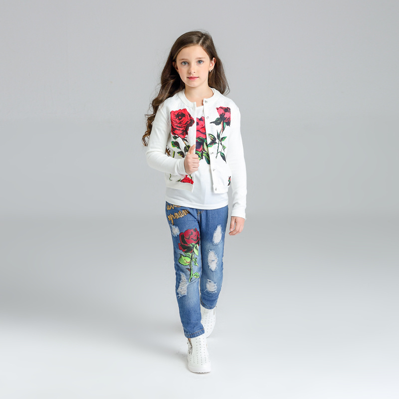 Spring/Autumn Girls Clothing Set Fashion Cute Kids Clothes Rose Flower Girls Children Clothing  Coat + T-shirt + Jeans 3pcs suit brand new spring autumn girls t shirt long sleeves clothing children blue cute casual tshirt bottoming shirt top tees gh047