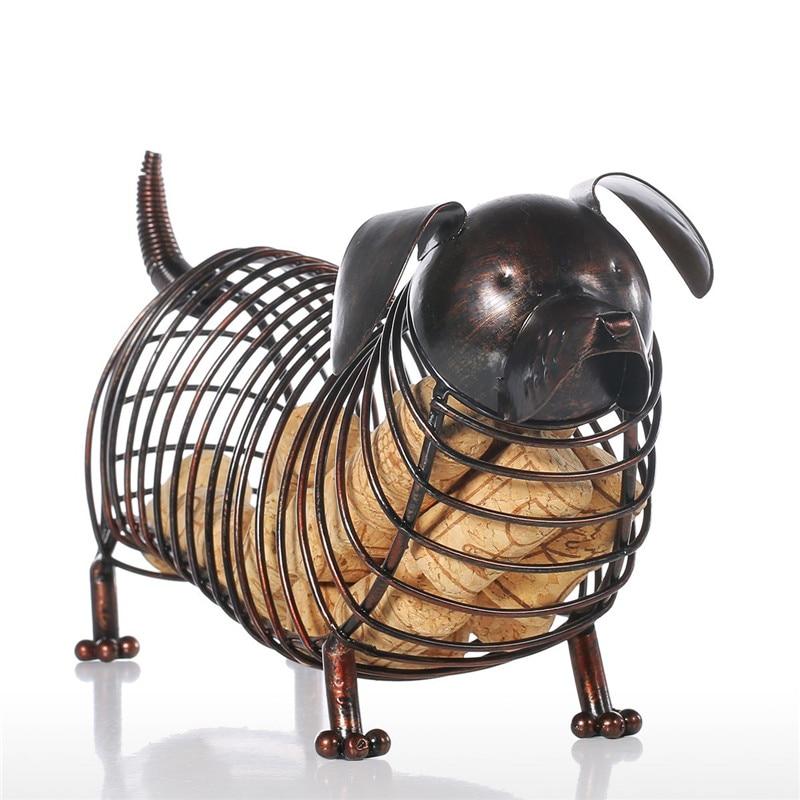 Dachshund Wine Cork Figurine Art Sculpture Handicraft Animals Dog Statue Creative Metal Art&Craft Home Decoration R462