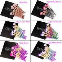 10 12PCS 12PCS Mermaid Shape Makeup Brush Fish Scale Foundation Powder Eyeshadow Makeup Brushes