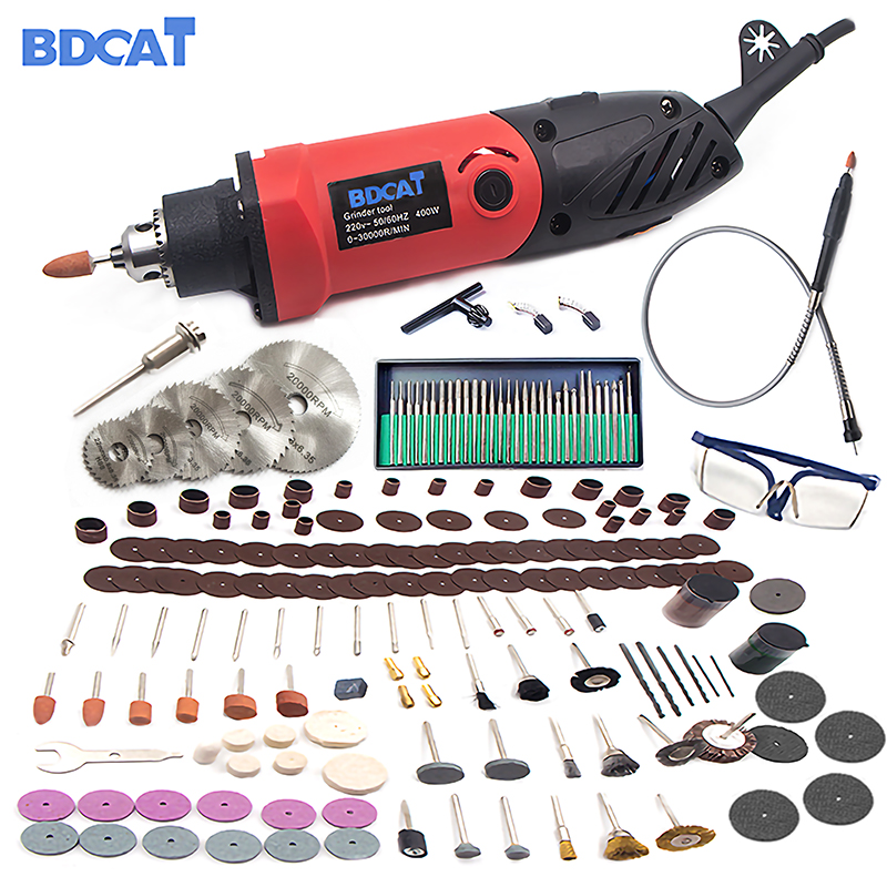US $54 0  BDCAT 110V/220V 400W Mini Grinder Engraving Variable Speed Dremel  Rotary Tools Grinding Power Tools with 206pcs Accessories-in Electric