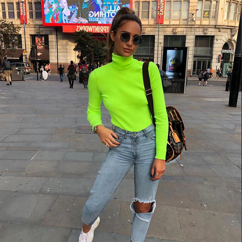 2019 Autumn Women Turtleneck Neon Green Ribbed Sweaters Long Sleeve Fluorescent Color Pullovers Slim Solid Color Warm Sweater