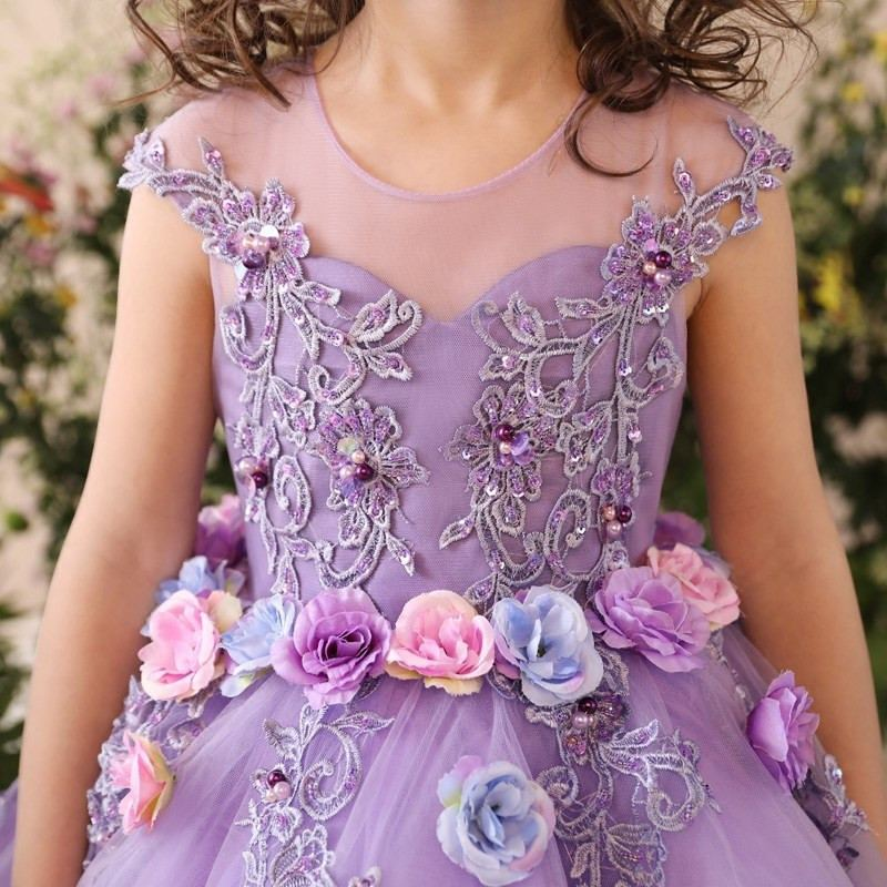 2019 Kids Girl Lace Wedding Christmas Dress Children Elegant Mesh Princess  Party Pageant Dress Baby Girls Clothes Prom Gown Q32