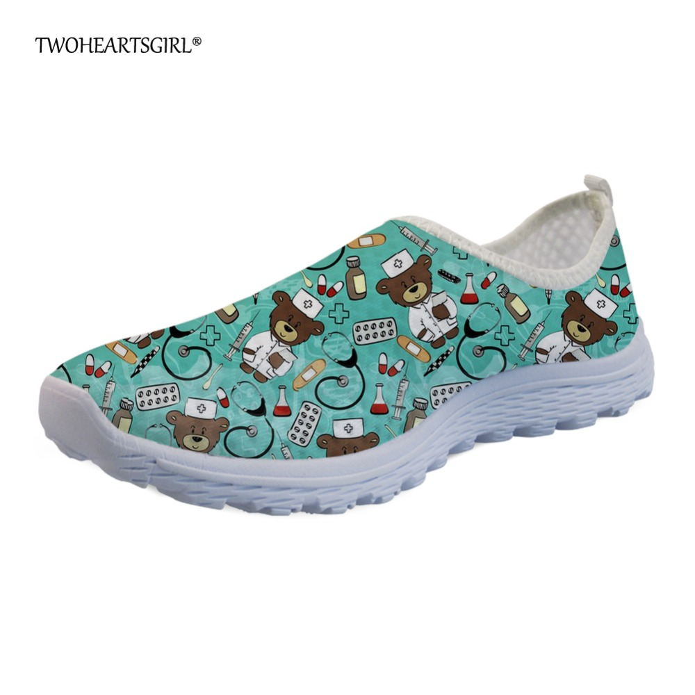 Twoheartsgirl Summer Women Flats Cute Cartoon Nurse Bear Women's Breathable Mesh Shoes Light Beach Shoes Slip-on Sneaker Ladies forudesigns women casual sneaker cartoon cute nurse printed flats fashion women s summer comfortable breathable girls flat shoes