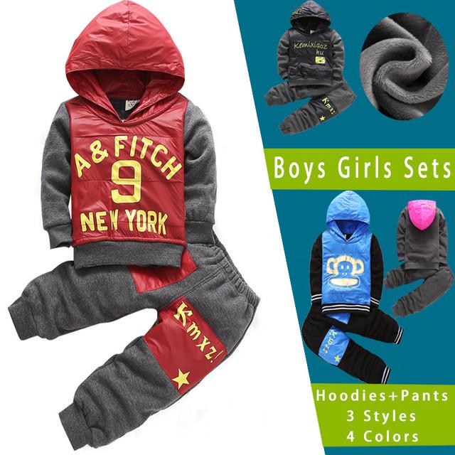 Criança Primavera Roupas de Bebê Menino Definir Crianças Ternos de Inverno Com Capuz New Born Roupas de Menina Define Algodão Agasalho 2 Pcs Hoodies + calças