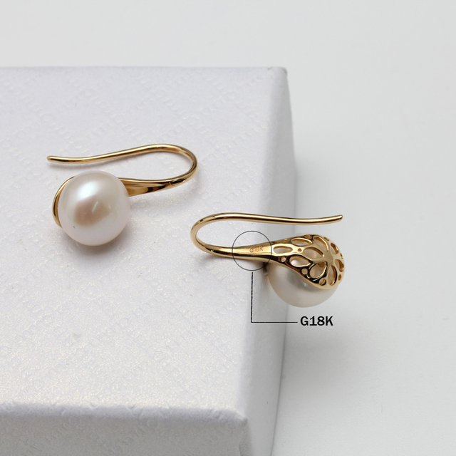 Freshwater Pearl Earrings With Yellow Gold