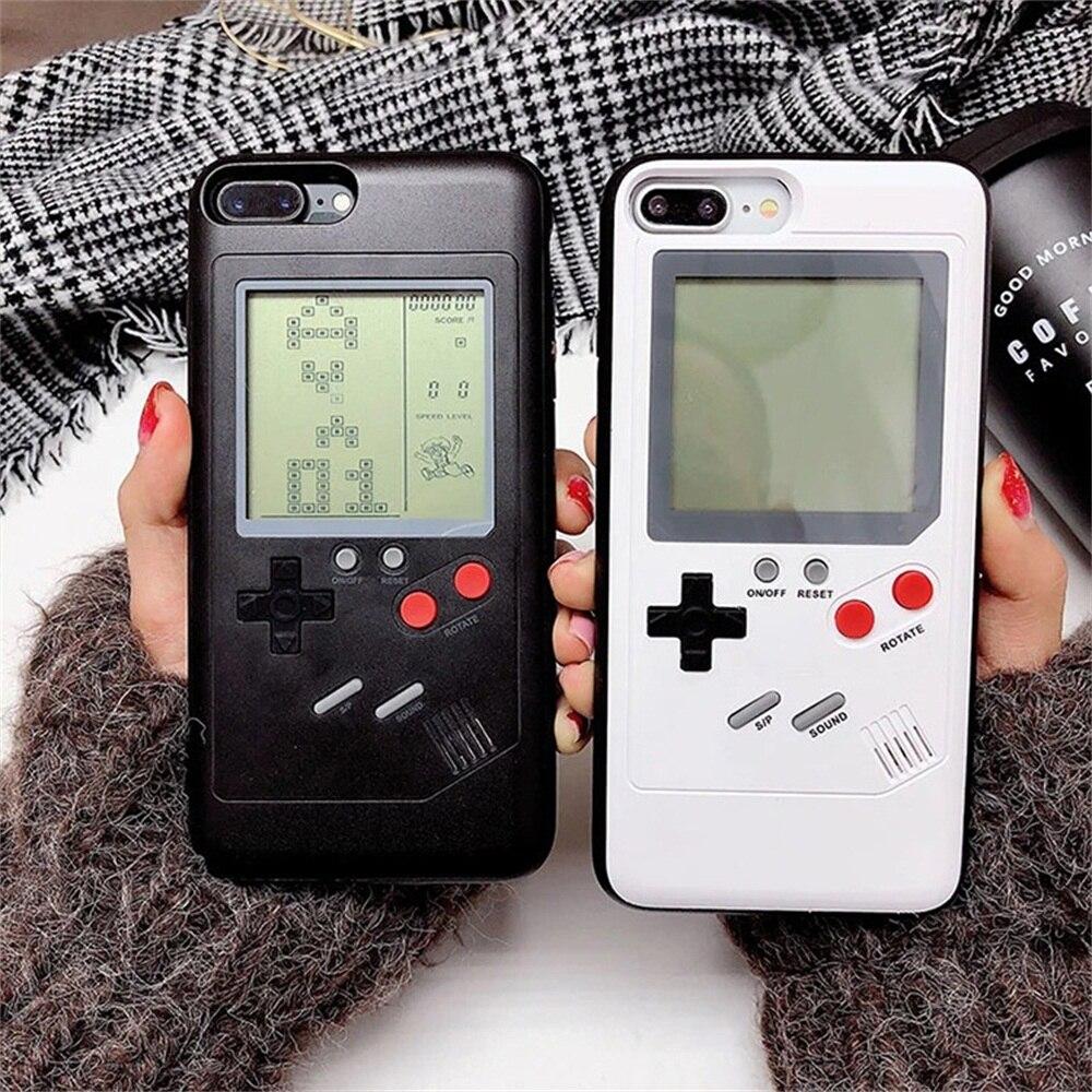 Tetris Casse Del Telefono per il iphone 6 6 S 7 8 Più Morbido Copertura TPU Può Giocare Blokus Console di Gioco Per Iphone X Gameboy